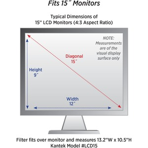 "Kantek LCD Protect Anti-glare Filter Fits 15in Monitors - For 15""LCD Monitor - Anti-glare FITS 15IN MONITORS"