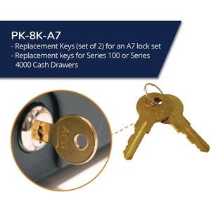 APG Cash Drawer Replacement Key  for A7 Code Locks   Set of 2   - 2 x Key Set DRAWERS