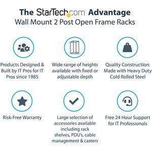 "StarTech.com 8U 19"" Wall Mount Network Rack, 12"" Deep 2 Post Open Frame Server Room Rack for Data/AV/IT/Computer Equipment"