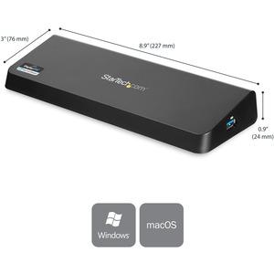 StarTech.com USB 3.0 Docking Station Dual Monitor with HDMI & 4K DisplayPort - 4x USB-A, Ethernet - USB Type A Universal L