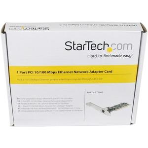 StarTech.com ST100S Fast-Ethernet-Karte für PC - 10/100Base-TX - Plug-in-Karte - PCI - 100 MB/s Datenübertragungsrate - 1