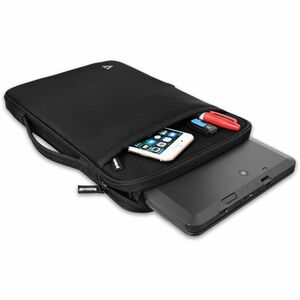 "V7 CSE12HS-BLK-9N Carrying Case (Sleeve) for 12"" MacBook Air - Black - Neoprene Exterior, Fleece Interior - Handle, Should"