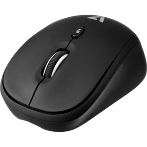 V7 4-Button Wireless Optical Mouse with Adjustable DPI - Black - Optical - Wireless - Radio Frequency - 2.40 GHz - Black -