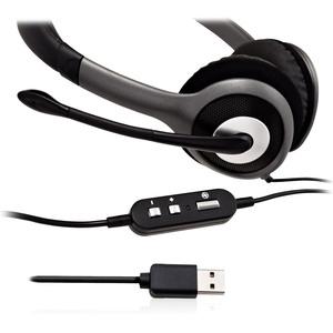 V7 HU521-2EP Kabel Kopfbügel, Auf den Ohren Stereo Headset - Schwarz, Grau - Binaural - Ohrumschließend - 20 Hz bis 20 kHz