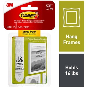 Command Large Picture Hanging Strips 17206-12ES - 4 lb (1.81 kg) Capacity - for Pictures - Foam - White - 12 STRIPS