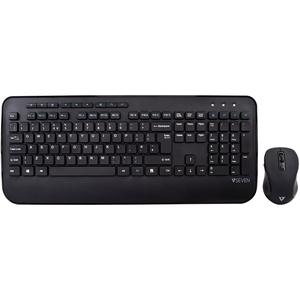 V7 CKW300UK Keyboard & Mouse - Wireless RF 2.40 GHz - English (UK) - Black Wireless RF - 1600 dpi - 6 Button - Scroll Whee
