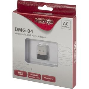 Inter-Tech PowerOn DMG-04 Wi-Fi Adapter für Notebook - IEEE 802.11ac - USB 2.0 - 650 Mbit/s - 2,40 GHz ISM - 5 GHz UNIIExtern