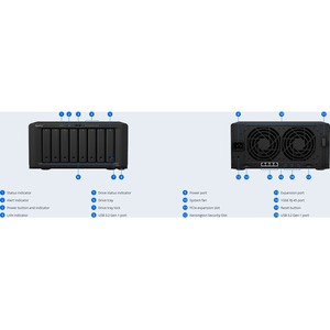 Synology DiskStation DS1821+ SAN/NAS Storage System - AMD Ryzen V1500B Quad-core (4 Core) 2.20 GHz - 8 x HDD Supported - 0