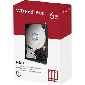 """WD Red Plus WD60EFZX 6 TB Hard Drive - 3.5"""" Internal - SATA (SATA/600) - Conventional Magnetic Recording (CMR) Method - St"""