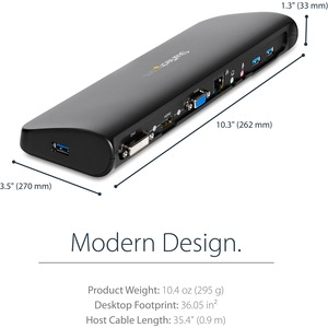 StarTech.com Universal USB 3.0 Laptop Docking Station - Dual-Monitor HDMI DVI VGA with Audio and Ethernet - TAA compliant