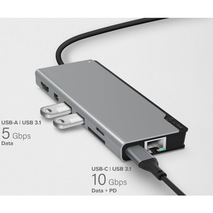 ALOGIC USB-C Dock PLUS with Power Delivery - Ultra Series - for Notebook/Tablet/Smartphone - 100 W - USB Type C - 3 x USB