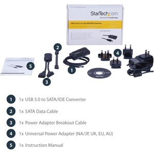 "StarTech.com USB 3.1 (10Gbit/s) Adapter Kabel für 2,5"" und 3,5"" SATA SSD/HDD Laufwerke - Erster Anschluss: 1 x SATA - Zwei"