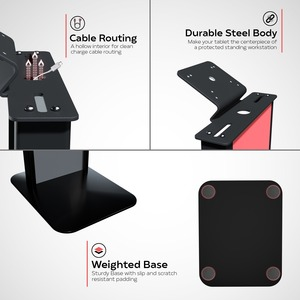 CTA Digital Customizable Premium Locking Floor Stand Kiosk with Graphic Card Slot for branding for 10.2-in iPad 7th, 8th G