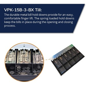 APG Cash Drawer VPK-15B-3-BX Till - 5 Bill x 5 Coin Fixed bill and coin area, Wire bill hold-downs, fits Vasario� 1915 siz