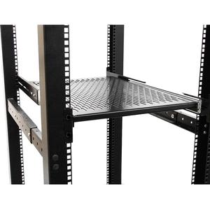 StarTech.com 2U Adjustable Mounting Depth Vented Sliding Rack Mount Shelf- 50lbs/22.7kg - Sliding Server Rack Shelf - Serv