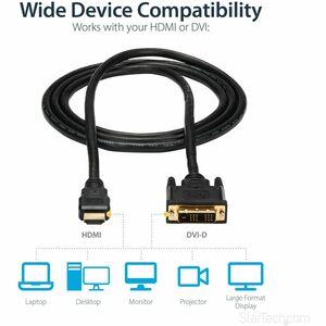 StarTech.com Câble HDMI vers DVI-D de 1,8m - Mâle / Mâle - Noir - 1er bout: 1 x 19 Aiguilles DVI-D Mâle Vidéo numérique -