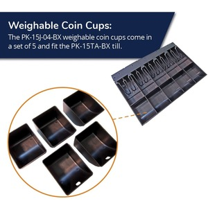 APG Cash Drawer Weighable Coin Cups   5 Pack   for M-15VTA Till - 5 x Cash Drawer Coin Cup 5CUP INCLUDED