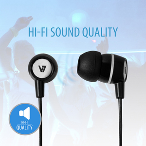 V7 Stereo Earbuds with Inline Microphone - Stereo - Mini-phone (3.5mm) - Wired - 32 Ohm - Earbud - Binaural - In-ear - 3.9