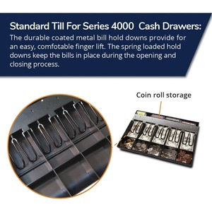 APG Cash Drawer Cash Till - 3 x Cash Till - 5 Bill/5 Coin Compartment(s) - Black 5COIN FITS S100 S4000 DRAWER 100+