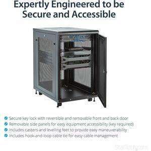 StarTech.com 18HE Serverschrank - 78cm tiefes Gehäuse - 450 kg Maximale Gewichtskapazität