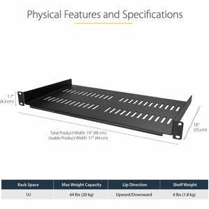 StarTech.com Belüfteter Server Rack Fachboden 1 HE - 25 cm Tief - 20,05 kg Maximale Gewichtskapazität