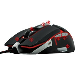 RIOTORO Aurox Mouse - Optical - Cable - Black - USB - 10000 dpi - Scroll Wheel - 8 Button(s)