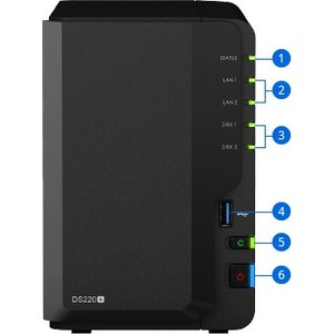Synology DiskStation DS220+ SAN/NAS Storage System - Intel Celeron J4025 Dual-core (2 Core) 2 GHz - 2 x HDD Supported - 32