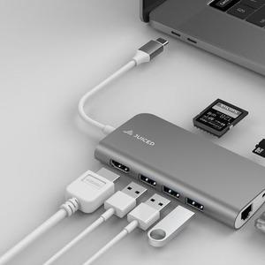 Juiced Systems BizHUB - USB-C Multiport Gigabit HDMI Adapter - Space Grey - USB Type C - 4K - 3 x USB 3.0 - 3 x USB Type-A