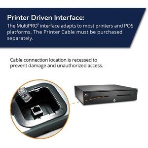 APG Cash Drawer Series 4000 1816 Cash Drawer - 5 Bill x 5 Coin - Dual Media Slot, Painted Front - Black - Solenoid 24V 5BI