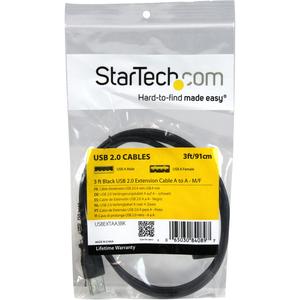 StarTech.com 90cm USB 2.0 Verlängerung - USB-A Verlängerungskabel Stecker/Buchse - Erster Anschluss: 1 x Typ A Stecker USB
