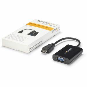 StarTech.com Câble adaptateur / Convertisseur HDMI vers VGA avec audio - Mâle / Femelle - Noir - 1er bout: 1 x HDMI Mâle A