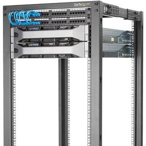 StarTech.com 25HE 4 Pfosten Open Frame Server Rack tiefenverstellbar mit Rollen / Nivellierfüße und Kabelverwaltung - Stah