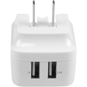 StarTech.com Travel USB Wall Charger - 2 Port - White - Universal Travel Adapter - International Power Adapter - USB Charg