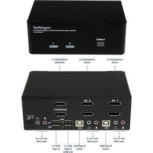 StarTech.com SV231DPDDUA KVM-Switchbox - TAA-konform - 2 Computer - 1 Lokaler Benutzer(n) - WQUXGA - 3840 x 2400 - 6 x USB