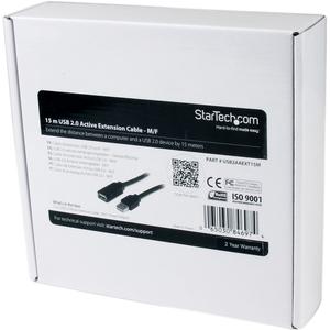 StarTech.com 15 m USB Datentransferkabel für Stromadapter - 1 - Erster Anschluss: 1 x Typ A Stecker USB - Zweiter Anschlus