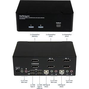 StarTech.com 2-Port DisplayPort KVM Switch - Dual-Monitor - 4K 60 - with Audio & USB Peripheral Support - DP 1.2 - USB Hub
