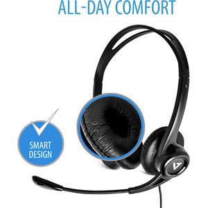 V7 HU311-2EP Kabel Kopfbügel Stereo Headset - Schwarz - Binaural - Ohraufliegend - 20 Hz bis 20 kHz Frequenzgang - 180 cm