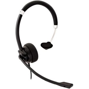 V7 Deluxe HU411 Kabel Kopfbügel Mono Headset - Schwarz, Silber - Monaural - Ohraufliegend - 31,50 Hz bis 20 kHz Frequenzga