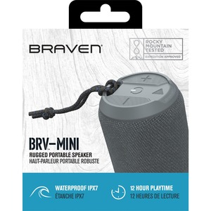 Braven BRV-MINI Portable Bluetooth Speaker System - 5 W RMS - Gray - Battery Rechargeable - 1 Pack BRV-MINI RED