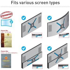 """Barkan Wall Mount for Curved Screen Display, Flat Panel Display - Black - 1 Display(s) Supported - 13"""" to 90"""" Screen Suppo"""