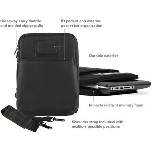 "Max Cases Zip Sleeve 11"" Bag (Black) - Bump Resistant Interior, Impact Resistant Interior - Nylon - Handle - 10"" Height x"