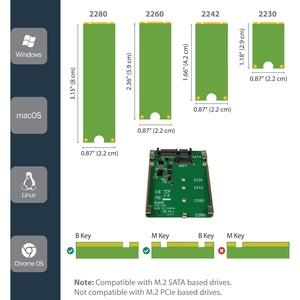 """StarTech.com Laufwerksschachtadapter für 2.5"""" M.2 - Serial ATA/600 Host Interface Intern - TAA-konform - 1 x SSD unterstüt"""
