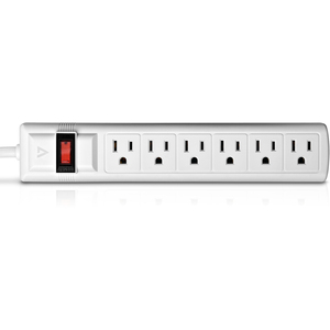 V7 6-Outlet Surge Protector, 8 ft cord, 900 Joules - White - 6 Receptacle(s) - 900 J 8FT CORD 125V STRIP WHITE