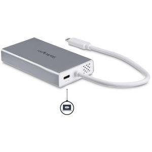 StarTech.com USB-C Multiport Adapter für Laptops - Stromversorgung - 4K HDMI - GbE - USB 3.0 - Silber & Weiss - Portabler