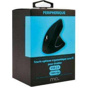 Souris Optique MCL - Fréquence radio - USB - 6 Bouton(s) - Noir - Sans fil - 2,40 GHz - 1600 dpi - Roulettes avec frein -