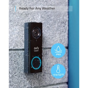 eufy Security, Wireless Video Doorbell (Battery-Powered) with 2K HD, No Monthly Fee, On-Device AI for Human Detection, 2-W