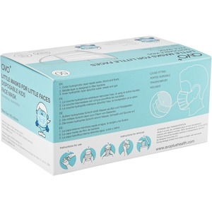 AVO+ Little Masks for Little Faces 50 box Type IIR (Blue) - Recommended for: Face - Adjustable Nose Clip, Hydrophobic Oute
