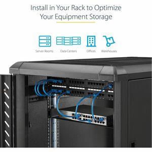 "StarTech.com 2U Server Rack Cabinet Shelf - Fixed 16"" Deep Cantilever Rackmount Tray for 19"" Data/AV/Network Enclosure w/c"