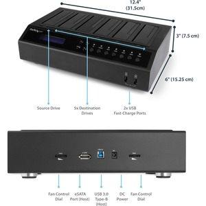 StarTech.com USB 3.0 / eSATA 6 Bay Festplatten Dock Kopierstation - 1:5 HDD / SSD Kloner und Eraser