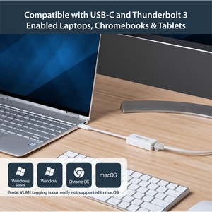 StarTech.com USB C to Gigabit Ethernet Adapter - White - USB 3.1 to RJ45 LAN Network Adapter - USB Type C to Ethernet (US1